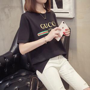 2018夏季短袖T恤女纯棉圆领新款韩版白色半袖女宽松体恤印花