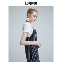 【10.16-10.17 2件3折价:143.1元】Lagogo2019夏新款女装白色圆领上衣通勤条纹吊带连衣裙两件套