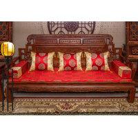 中式复古三人沙发垫扶手抱枕坐垫组合套装仿古罗汉床垫五件套