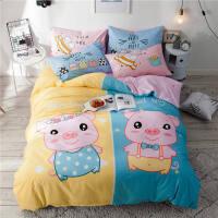 卡通床上用品四件套儿童男孩1.2米m床单人被套三件套女孩 笨笨猪 双面纯棉