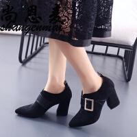 高跟鞋女2018秋季欧美新款百搭羊反绒深口尖头皮带扣粗跟单鞋女鞋