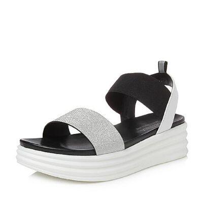 Teenmix/天美意2018夏专柜同款简约一字带厚底女凉鞋CD301BL8
