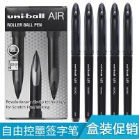 日本三菱笔uni-ball AIR水笔UBA-1880.5mm直液式签字笔绘图笔自由控墨黑科技笔进口学生用文具黑色中性