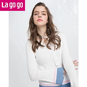 Lagogo拉谷谷2018春新款甜美修身撞色上衣直筒喇叭袖V领针织衫女