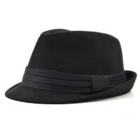 男士帽子春秋中老年人英伦礼帽夏季遮阳爵士帽毛呢爸爸帽子 M/56-58cm