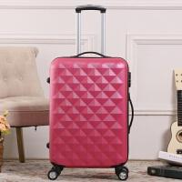 钻石纹男女拉杆旅行箱飞机万向轮行李箱登机密码箱20/24寸28 玫红色