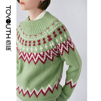 【2件3折 叠券预估价:106.8元】初语冬款新装 摩登复古撞色提花图案宽松圆领套头毛衣