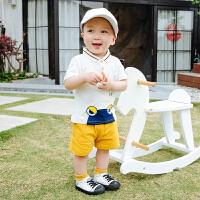 婴儿夏季男宝宝外出套装6-个月新生幼儿纯棉短袖短裤两件套