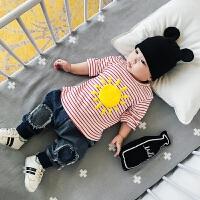 婴儿秋款纯棉0-3岁幼儿男女宝宝新生儿条纹韩版潮长袖上衣T恤