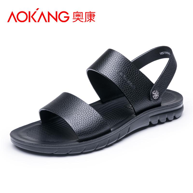 奥康男鞋夏季凉鞋男士真皮潮流沙滩鞋新款露趾休闲凉拖鞋