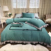 秋冬磨毛纯棉四件套欧式简约纯色1.8m床上用品全棉被套床单双人