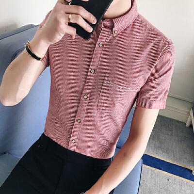 夏季新款男装韩版寸衫短袖衬衫男士条纹潮流百搭休闲衬衣38