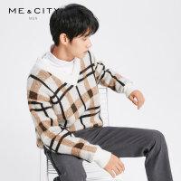 【1.18超品日全场2件2.5折,到手价:154.8】MECITY男装2018冬季新款男士格纹马海毛V领毛衫