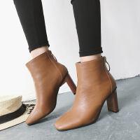 WARORWAR新品YM95-885冬季欧美粗跟高跟女士靴子切尔西靴短靴