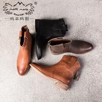 玛菲玛图2018新款短靴女靴春 真皮小圆头拉链裸靴复古英伦风马丁靴6101-3