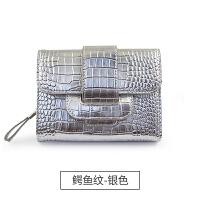 钱包女短款多功能韩版小清新三折叠零钱位皮钱夹 鳄鱼纹-银色