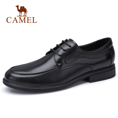 camel新款男士正装皮鞋牛皮商务办公皮鞋系带真皮皮鞋