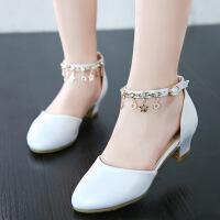女童公主鞋韩版高跟鞋2019春秋新款钢琴表演白色儿童单鞋皮鞋女