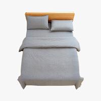 当当优品家纺 全棉日式针织床品 1.8米床 床笠四件套 纯色烟灰