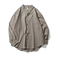 春季2018新款修身男士衬衣韩版潮流帅气长袖衬衫休闲简约寸衫衣服 灰色 薄款 修身