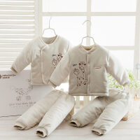 婴儿衣服彩棉棉衣套装礼盒新生儿用品装秋冬加厚宝宝棉袄婴儿礼盒 加厚款 8601(偏开+对开)自然绿