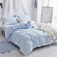 简约少女网红水洗棉四件套1.5m1.8m床单式床上用品三件套