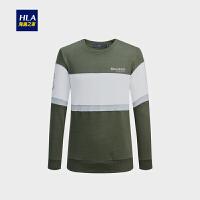 HLA/海澜之家条纹圆领舒适卫衣2018秋季新品长袖套头男士卫衣