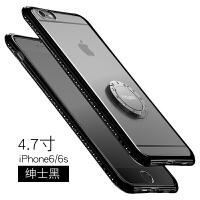 iphone6手机壳苹果6plus保护套6s支架透明软硅胶防摔sp女款水钻6p iphone6/6s 4.7寸 绅士黑