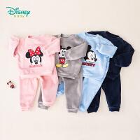 迪士尼Disney童装 男女童水貂绒卫衣套装秋季新品米奇米妮贴布绣上衣 193T921