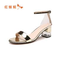 红蜻蜓凉鞋夏季新款露趾高跟凉鞋粗跟亮片一字带优雅女鞋