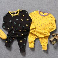 儿童家居服秋冬中小男童宝宝铅笔飞机棉弹秋衣裤内衣2件套装