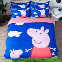 ins卡通风床上四件套 小猪佩奇印花床笠式单人套件 双人大床1.8m