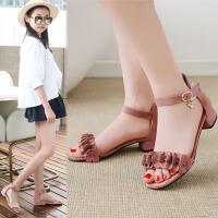 夏季女童高跟凉鞋韩版大童学生公主鞋小女孩舞蹈鞋