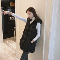 №【2019新款】冬天年轻人穿的棉马甲女韩版带帽中长款宽松加厚连帽羽绒棉背心潮