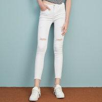 美特斯邦威牛仔裤女士秋装白色破洞bf风长裤修身潮流学生小脚裤