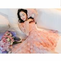 蕾丝连衣裙女2018夏季小清新立体花朵气质收腰短款百褶裙 粉色