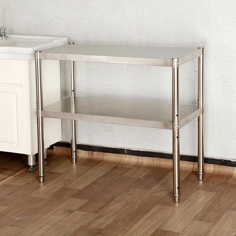 厨房用品置物架2层不锈钢台面微波炉架烤箱架收纳货架双层可调节