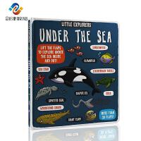英文原版 Little Explorers Under the Sea 小探险家系列之海洋纸板书 儿童科普读物 4-6岁少儿百科启蒙纸板翻翻书 科普书