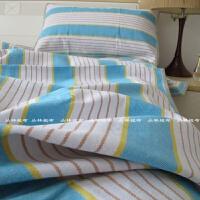 纯棉粗布凉席套件一等品 学生两件套 床上 老粗布 加厚 黄色蓝条纹 1.0m(3.3英尺)床