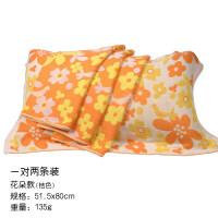 中国结纱布枕巾比棉透气 情侣四季竹纤维枕巾一对 3051 花朵桔色 1对2条装