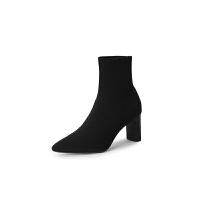 新款 女鞋黑色尖头高跟短靴及裸靴秋冬中跟袜子靴粗跟弹力靴lkf 黑色 6.5CM跟高黑色