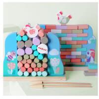 大手牵小手儿童益智玩具亲子母鸡推墙抽抽乐木制积木桌面游戏