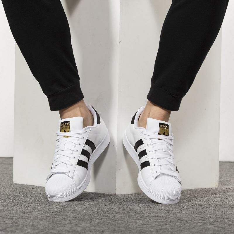 Adidas阿迪达斯  男子女子三叶草superstar经典金标贝壳头休闲板鞋 C77124 金标贝壳头休闲板鞋