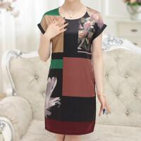 中老年女装短袖夏季连衣裙妈妈新款大码裙子中年春夏装中国风长裙