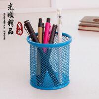 彩色创意笔筒 网状笔筒 金属铁丝网笔筒 办公室方形圆形笔筒
