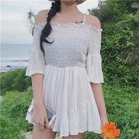 一字领连衣裙学生夏装2018新款韩版chic露肩吊带沙滩裙子A字短裙