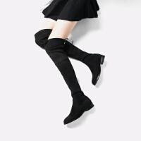 青婉田新款长筒靴女过膝长靴显瘦高筒弹力靴女靴平跟单靴平底加绒靴子