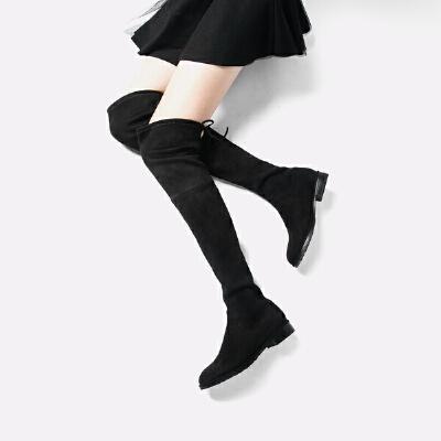 青婉田新款长筒靴女过膝长靴显瘦高筒弹力靴女靴平跟单靴平底加绒靴子尺码正常,脚感舒适,弹力布,可选加绒