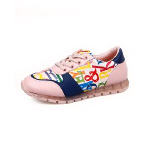 比比我2017系带春秋新款儿童板鞋韩版休闲女童小白鞋男女童板鞋潮