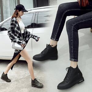 ZHR马丁靴子女平底短靴秋冬季2018新款内增高英伦风机车矮靴韩潮